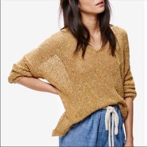 Free People Sand Open Knit Vertigo Pullover S